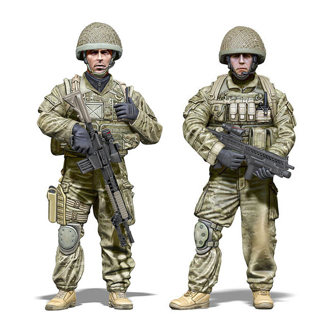 Diy brinquedos resina 1 / 35 exército britânico incluem 2 soldados sem pintura Kit resina modelo frete grátis
