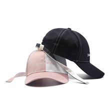 Europe & America Lovers Baseball Cap Contrast Color Patchwork Leisure for Men Women Satin Pink and White / Black