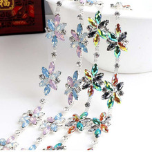 1Yard Flower Rhinestone Crystal Silver Strass Chain Costume Applique Trims Sewing Material Supplies AIWUJIA Handcraft
