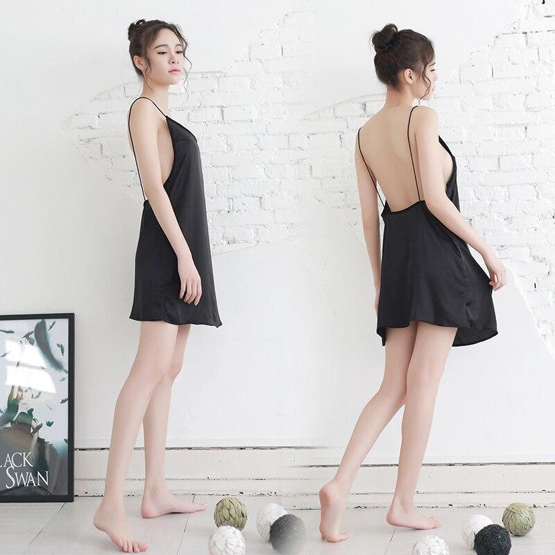 Imitated Silk Summer Backless Sexy Women Sleepshirts Sling Nightdress Female Deep V Collar Nightgowns Solid Color Soft Sleepwear
