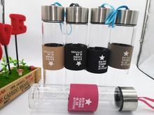 Glas Wasserflasche mit schutztasche 450 ml Trinken glas teekanne sport reise flaschen mit tee-ei