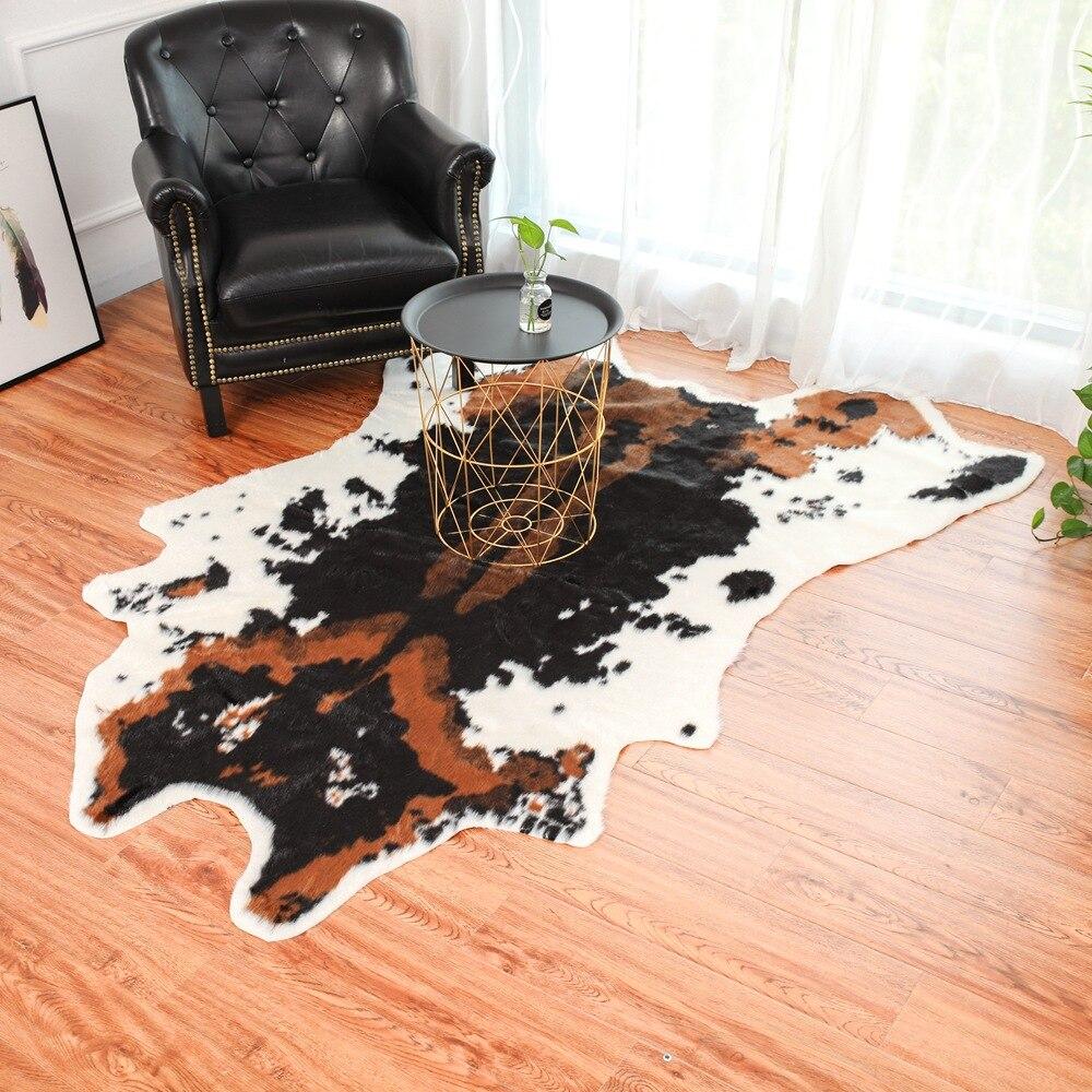 Vache imprimé tapis animal faux zèbre peau de vache tapis grande taille 2X1.5 M marron blanc Imitation cuir naturel rayure peau de vache tapis