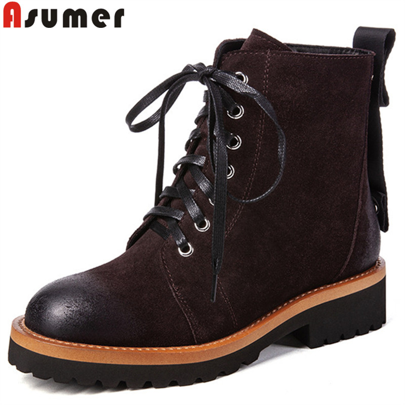 ASUMER fashion autumn winter boots round toe zip lace up ankle boots for women square heel classic ladies suede leather boots купить в Москве 2019