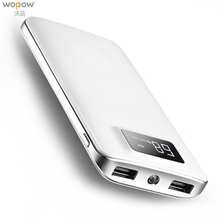 Wopow Large Capacity 10000 mAh Power Bank protable Double USB powerbank Quick Charger External Battery For Phone with LED Light
