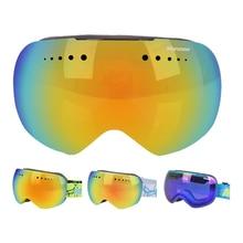 ФОТО large spherical adult ski goggles double lens uv400 anti-fog snowboard glasses for men women snowmobile eyewear winter mask