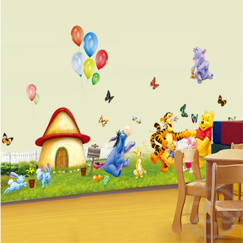 ... Large Size Winnie The Pooh Wall Sticker Home Decor Cartoon Wall Decal  DIY For Kids Room ... Part 57