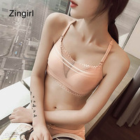 Zingirl Seamless Wrapped Push Up Bras Brassiere Women Wireless Padded Lace Bralette Crochet Print Soft Sexy
