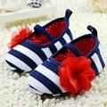 Muchachas del niño de Flor de Los Zapatos del Pesebre Suaves Rayas Party Casual Elástico Zapatos de Bebé