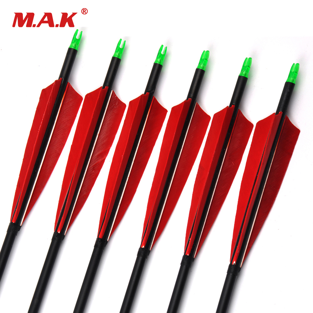 6/12/24pcs 85cm Spine 500 Carbon Arrows with Red Feather and Replaceable Tips for Recurve Compound Bow Hunting Shooting Archery nt1 3l air cooled gas metal arc welding gun north mig welding torch coupled with lin clon fitting 3 meter