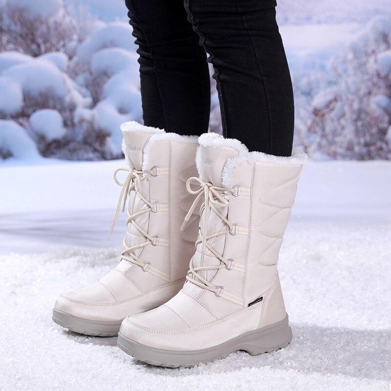 겨울 방수 나일론 고무 여자 허벅지 높은 부츠 패션 럭셔리 브랜드 부츠 여자 블랙 레이스 따뜻한 롱 스노우 부츠 여자-에서미드 카프 부츠부터 신발 의  그룹 1
