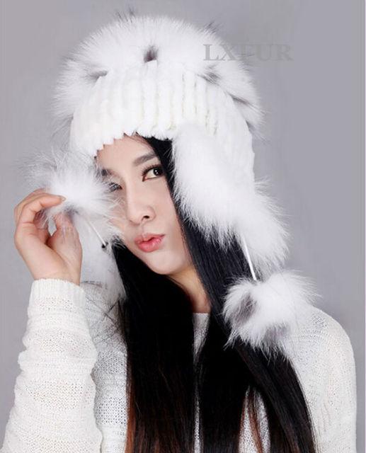 2017 Newest Style Knitted Rex Rabbit Fur Caps With Fox Fur  Hat  Earmuffs Fur Headwear Women Winter Hats  LX00245