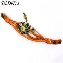 1PCS Womens Bracelet Vintage Weave Wrap Leather Leaf Beads Quartz Wrist Watches Free Shipping wholesale reloj mujer feminino J9