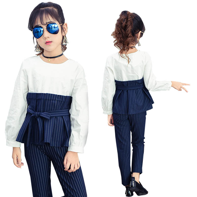 Girls Clothes 2018 spring girls clothing sets Striped Girls Sport Suit Children Clothing Set 4-12 years Kids Clothes Tracksuit clothing set 2017 spring girls clothes jacket floral zipper kids hoodies pants kids tracksuit for girls clothing sets sport suit