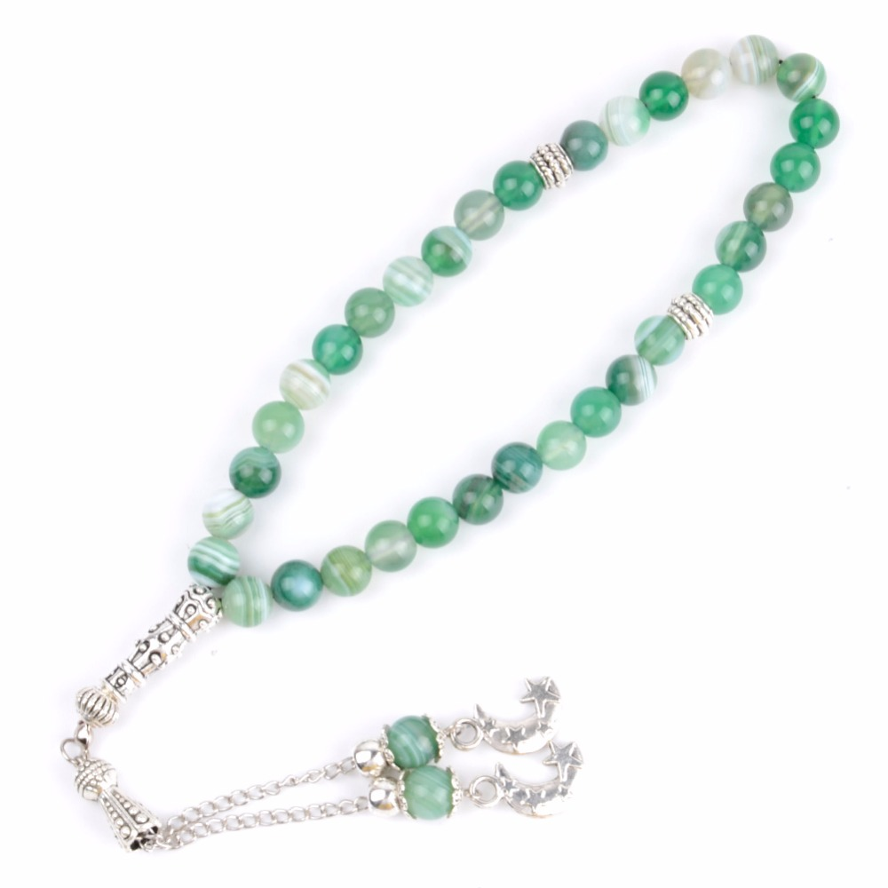 Natural Stone White Turquoises 33 Prayer Beads Charm Bracelets Men Islamic Muslim Tasbih Rosary For Women Jewelry Wholesale