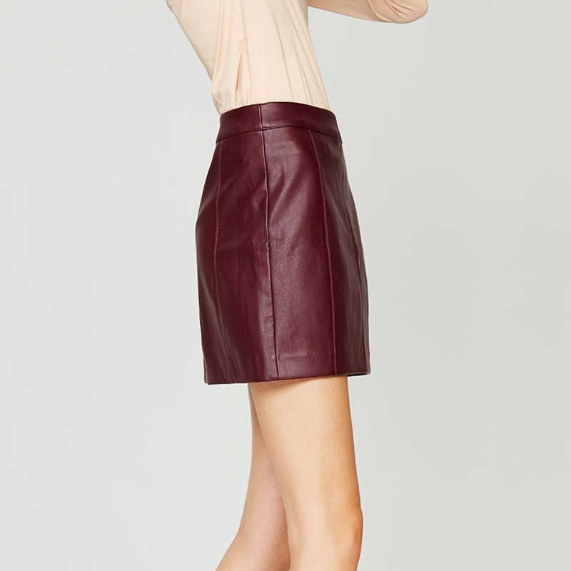 78463b68f6 ... ESCALIER Spring New PU Faux Leather Skirt Women High Waist Skirt Red  Back Zipper Mini Skrit ...