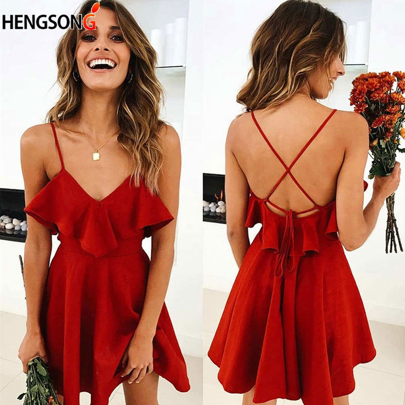 Drawstring Ruffles Dress Sexy Backless Cross Women's Bundle Waist V Neck Strap Mini Dress Summer Women Red Vintage Top