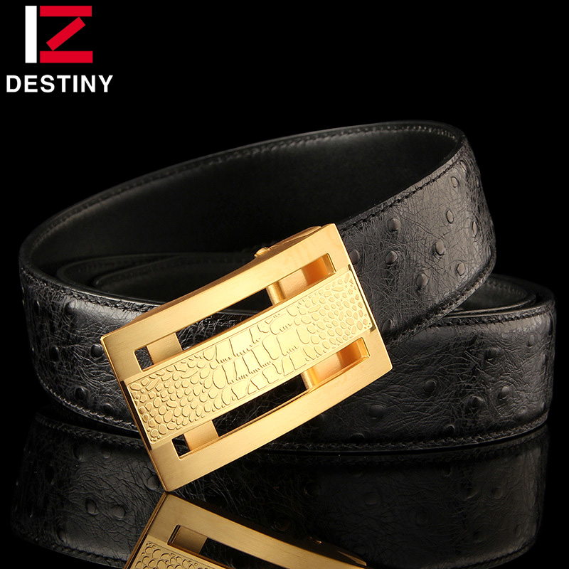 DESTINY Designer Belts Men High Quality Male Genuine Leather Strap Luxury Famous Brand Belt Wedding Stainless Steel Gold Silver