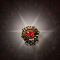 Jinwateryu fashion jewerly 2018 men 925 silver ring with red stone golen sun god rings Helios ring