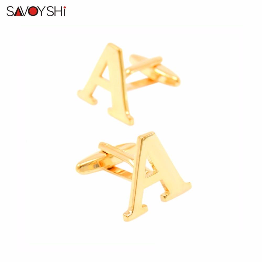 Prabangūs A-Z 26 raidžių rankogalių segtukai vyrams prancūziškiems marškinėliams. Aukštos kokybės jaunikio vestuvių auksinės spalvos rankogalių sagos. SAVOYSHI prekės ženklo papuošalai