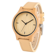 Simple Ladies Nature Bamboo Wood Quartz Wrist Watch Women Trendy Stylish Wooden Case Brown Genuine Leather Band Strap Female