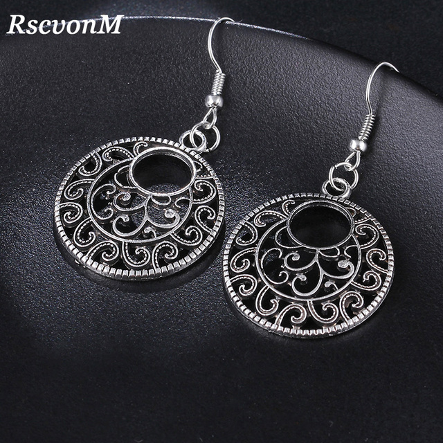 RscvonM New Boho Vintage Tibetan Silver Round Ear Hook Tribal Earrings Retro Big Flower Long Hanging Earrings Statement Jewelry