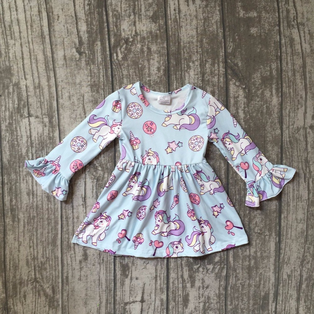 купить new spring fall/winter baby girls milk silk soft cotton unicorn dress Wathet blue ruffle long sleeve children clothes boutique по цене 465.6 рублей
