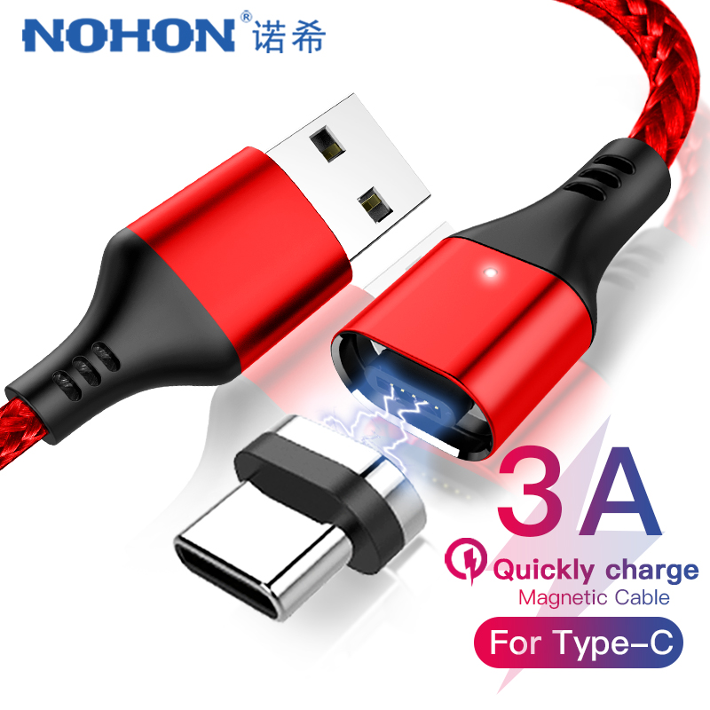 NOHON Magnetic Cable 3A Super Fast Charging For iphone XS MAX XR Micro USB Type C Samsung Huawei Xiaomi 9 Magnet Data Cables