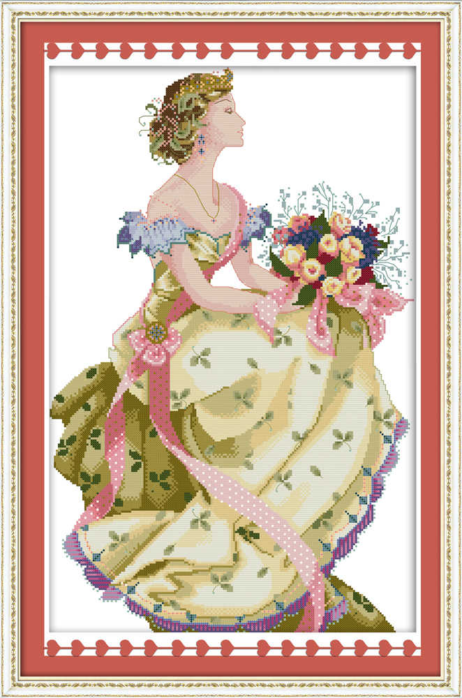 Spring queen cross stitch kit season beauty women 18ct 14ct 11ct count print canvas stitches embroidery DIY handmade needlework