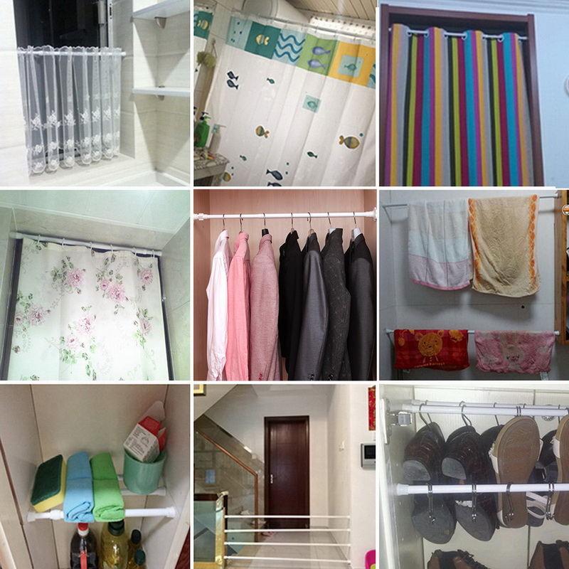 Image 5 - Multifunctional Adjustable Bathroom Shower Curtain Rods metal Voile Extendable Tension Telescopic Pole Rod Bedroom Kitchen-in Shower Curtain Poles from Home & Garden