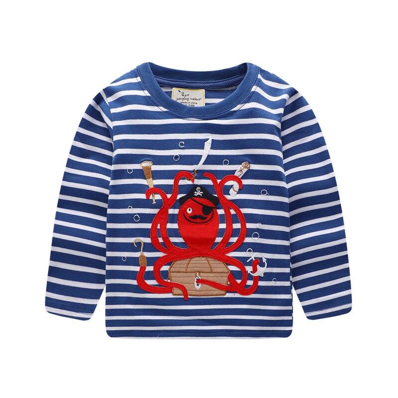 Для мальчиков топы с длинными рукавами 2018 осенняя одежда для маленьких мальчиков толстовки Осьминог животный принт детские футболки для Од...