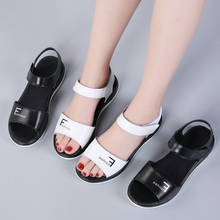 Liren 2019 Summer PU New Fashion Casual Women Hook&Loop Sandals Round Open Toe Flat Heels Leisure Lady Size 35-40