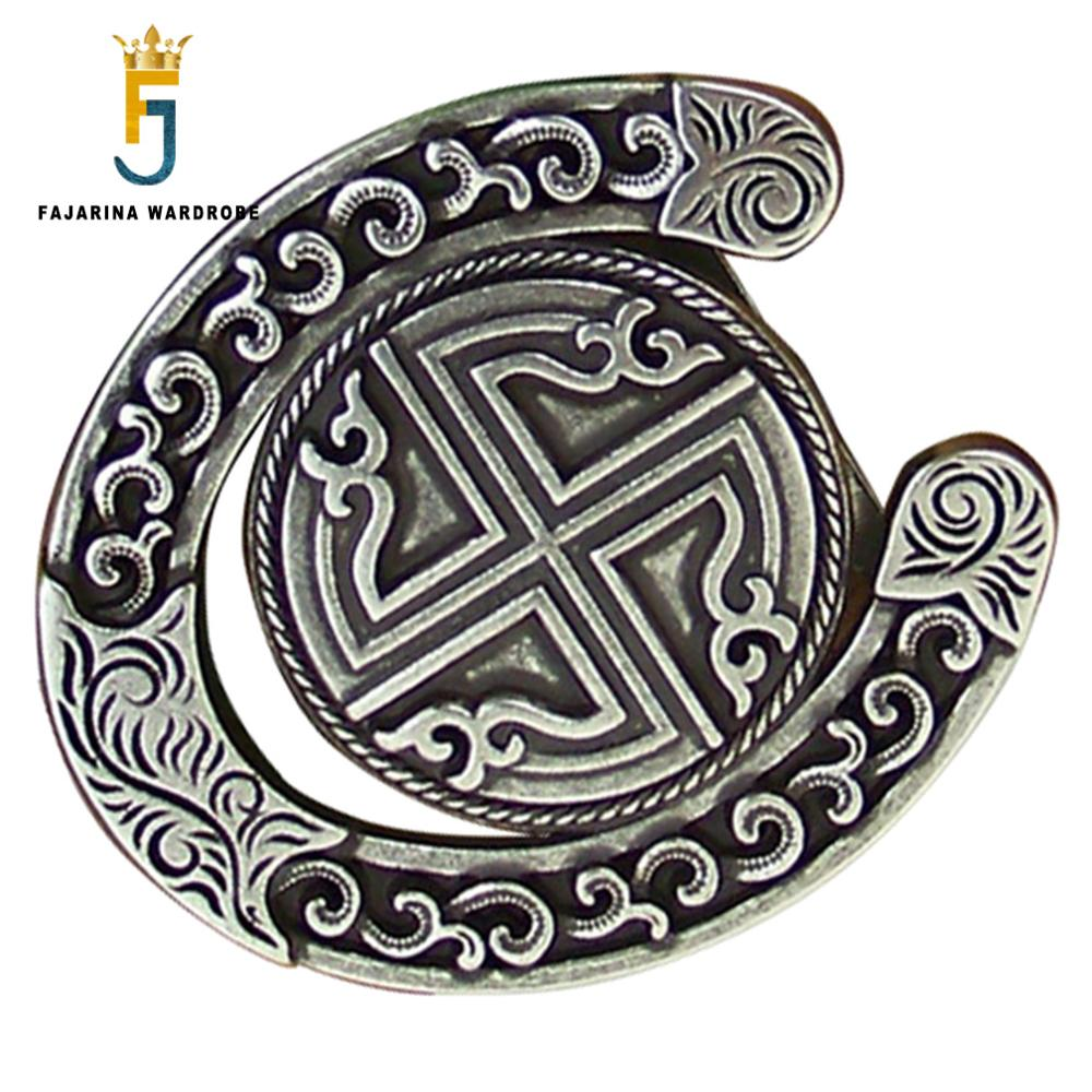 FAJARINA New Arrival Unique Plate with Silvery Retro Style Belt Buckle Slide Buckles for 3.6-4.0cm Width Smooth Belt BCK015