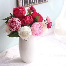 실크 꽃 인공 모란 꽃 자주색 붉은 신부의 꽃다발 웨딩 홈 파티 장식 6 가짜 나뭇 가지