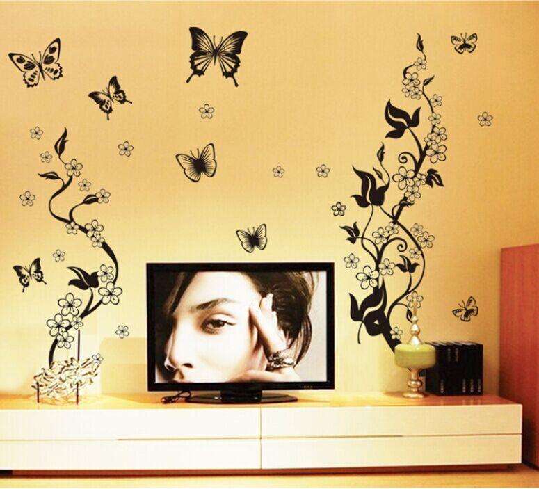 Saturday Monopoly Diy Home Decor Black Butterfly Vine Flower Wall Sticker Bathroom Kitchen Refrigerator