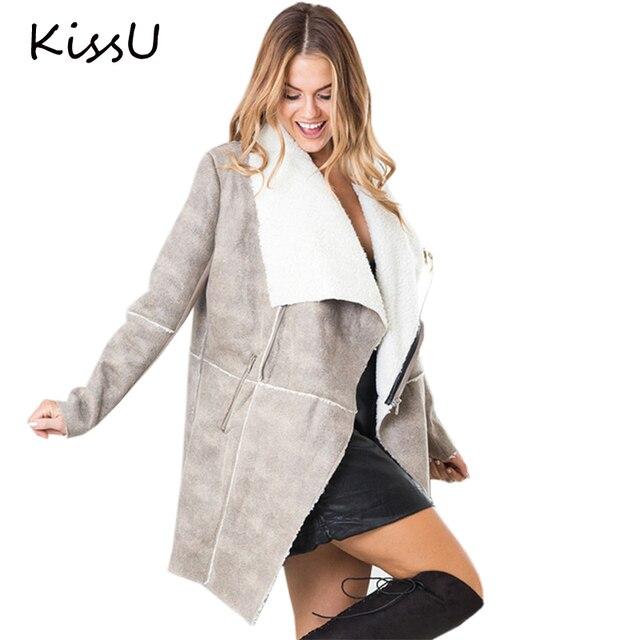 KissU Осень зима замши овечьей шерсти пальто женщин 2017 Элегантный теплый молния кашемировые пальто Turn down воротник широкий талией пальто