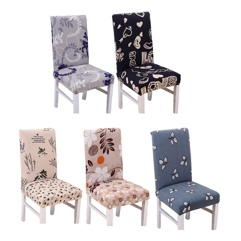 Anti-dirty Seater Protector Cover Spandex Polyester Stretch Minimalism Nordic Style Plant Floral Modern Dining Room Chair Cover