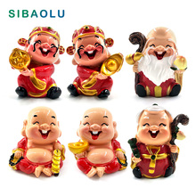 Chinese feng shui God of wealth miniature garden furniture resin craft Figurine fairy Statue home decoration accessories decor
