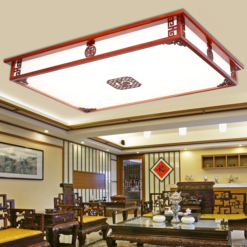 Chinese living room ceiling lamp solid wood bedroom room antique lamp solid wood acrylic rectangular led lamp CL ZS43 цена