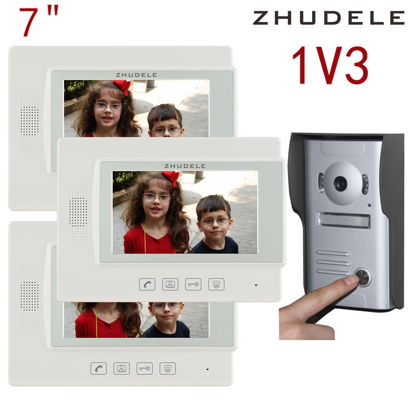 Free shipping! zhudele 7 inch TFT Monitor LCD Color Video Door Phone 1V3,DoorBell Intercom System touch panel 700TV Line 37M3 hd 7 inch color lcd video door phone intercom system door release unlock 1 doorbell camera 3 white indoor monitor free shipping