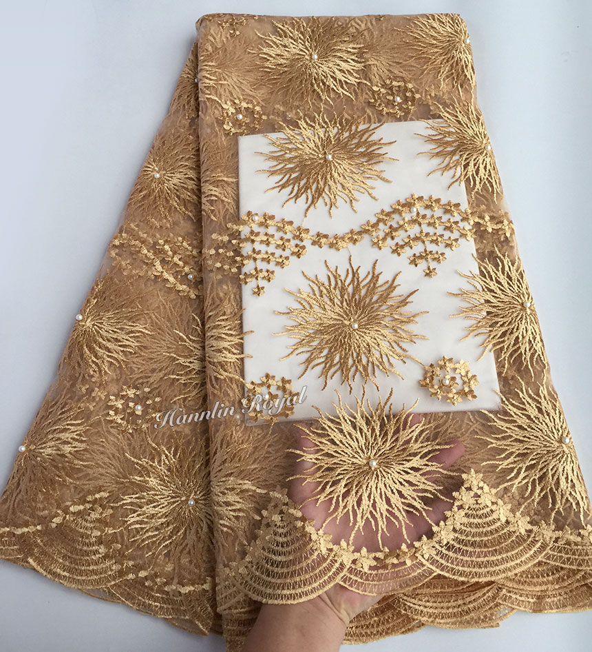 Fine gold very neat floral embroidery African french lace tulle lace Nigerian sewing clothes fabric high