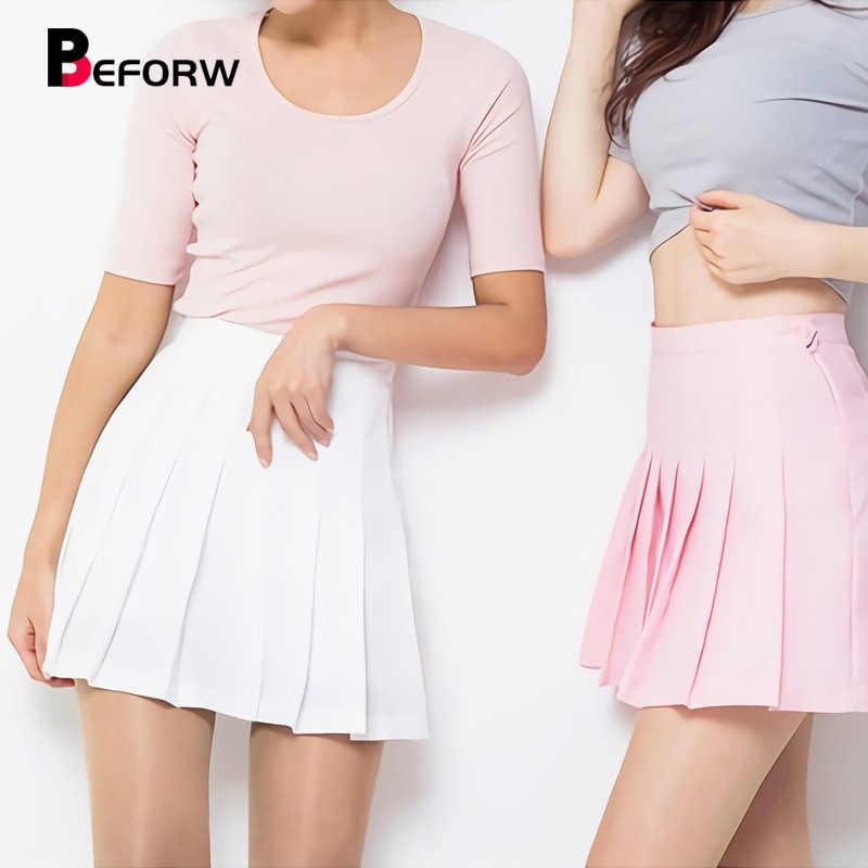 e564c480b7 BEFORW New Korea Kawaii Preppy Style Women Skirt High Waist Pleated Mini  Skirts Womens Pink Tennis