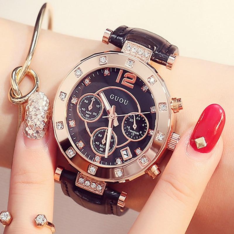 GUOU mode de luxe femmes montres dames montre femmes Bracelet montres pour femmes calendrier horloge en cuir relogio feminino saat