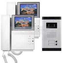 """DIYSECUR 4.3 """"Apartamento Video de La Puerta Sistema de Teléfono Video Del Timbre Del Intercomunicador 700 Tecla Táctil de la Cámara del IR para 2 Familias"""