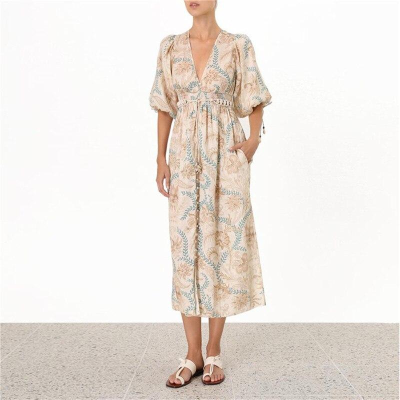 Vintage col en v lanterne manches feuille imprimé robe mi-longue femmes 2019 été haute qualité coton et lin robe avec ceintures