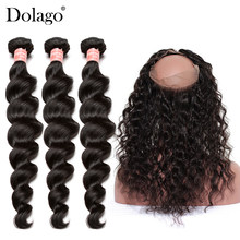 360 Lace Frontal With Bundle Brazilian Virgin Hair Loose Wave Bundles With Frontal Closure 4 Pcs/Lot Dolago Human Hair Weave(China)