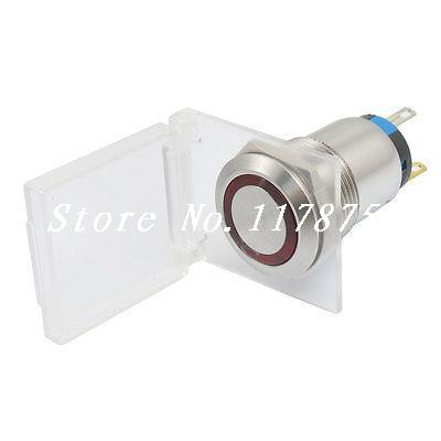 AC 250V 3A 12V Red Light Stainless Push Button Switch w Cover