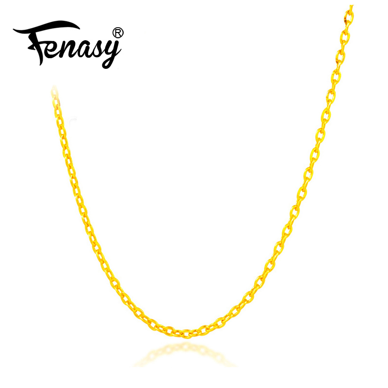 FENASY Genuine 18K White Yellow Gold Chain 18 Inches Au750 Cost Price Necklace Pendant Wendding Party Gift For Women Love image