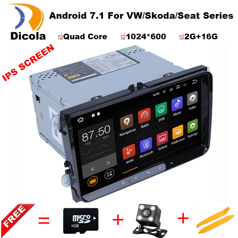 9 2 Din 2+16G Android 7.1 Car DVD Player For VW/Volkswagen/POLO/PASSAT/Golf/TOURAN/SHARAN Quad Core GPS BT WIFI 1024*600 Radio виниловая пластинка cd elvis presley