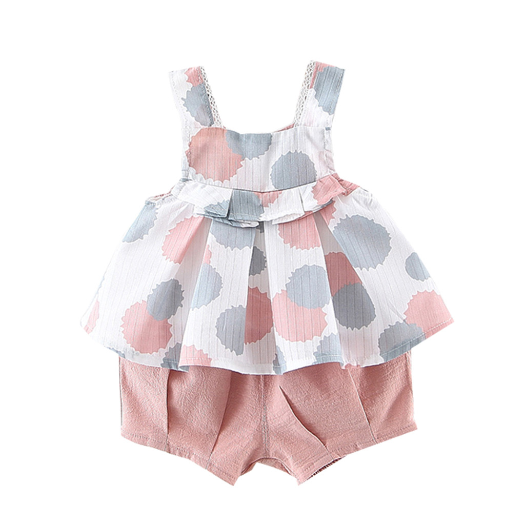 Summer New Fashion Toddler Baby Girls Sleeveless Dot Print Vest Tops+Solid Cute Shorts Outfits Wholesale Free Ship Z4