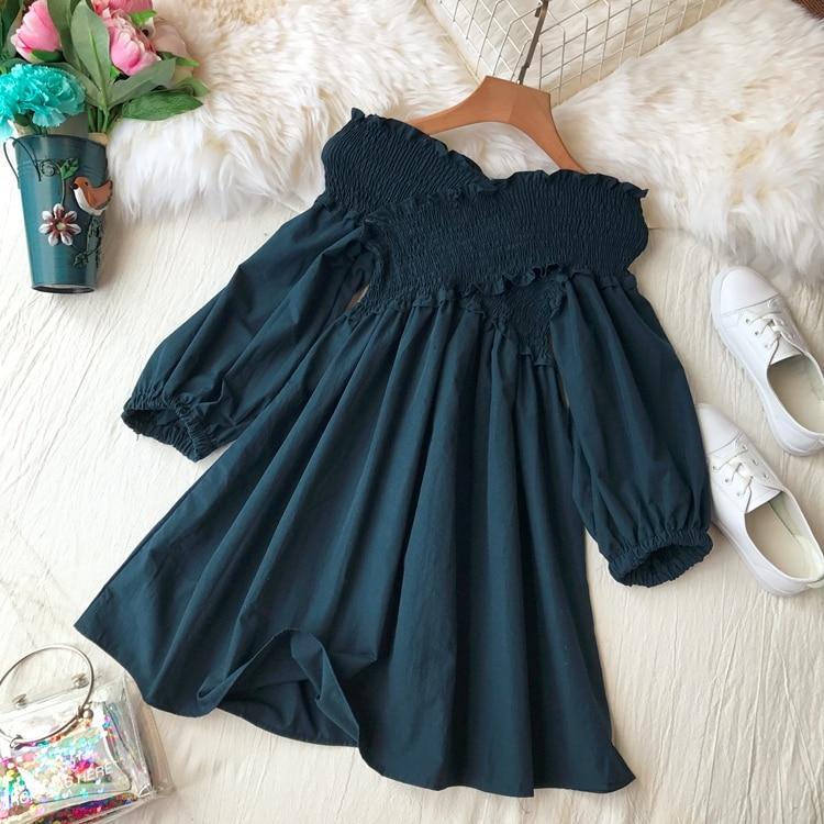 2018 Autumn New Women Solid Color Slash Neck Casual Dress Lady High Waist Slim Korean Half Puff Sleeve Elegant Vestidos C204